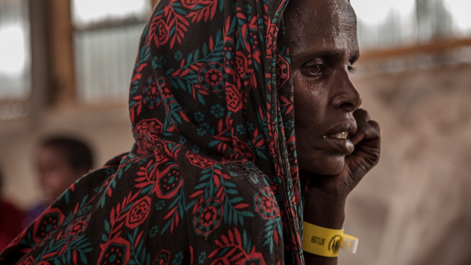 Aisha Yussuf Abdi, 40, and her seven young children fled drought in Somalia.