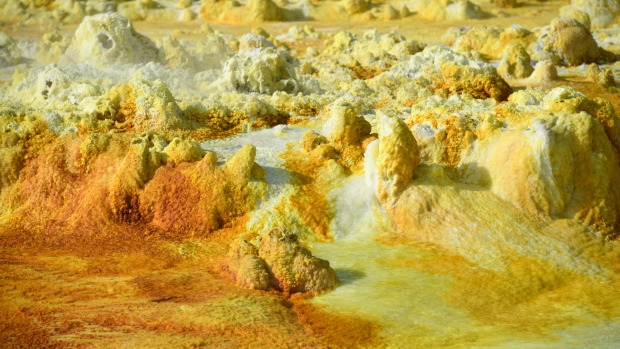 Part of a sulphur spring is pictured in the Danakil Depression. The depression lies 100 metres below sea level and is ...