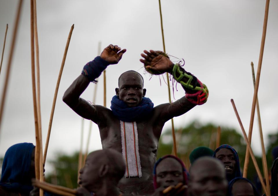 The top warriors from competing tribes are often carried on shoulders to the battlefield