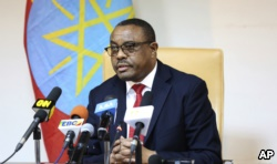 FILE - Ethiopian Prime Minister Hailemariam Desalegn, during press conference in Addis Ababa, Ethiopia, Feb. 15, 2018. Desalegn announced that he has submitted a resignation letter.