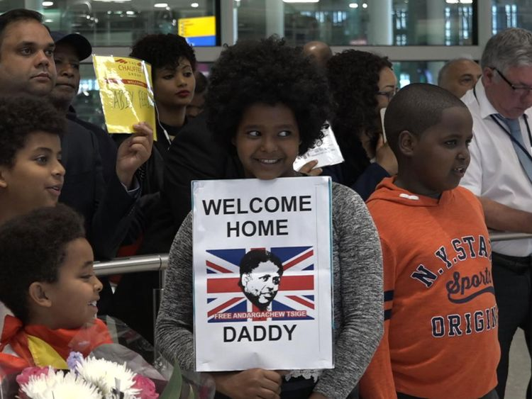 Andy Tsege's family were waiting for him at Heathrow