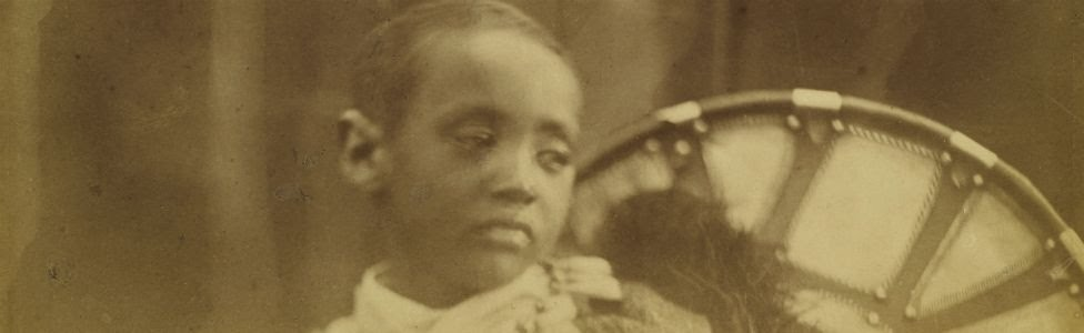 Maqdala 1868 display: Prince Alámayou, photograph, taken on the Isle of Wight, by Julia Margaret Cameron, July 1868
